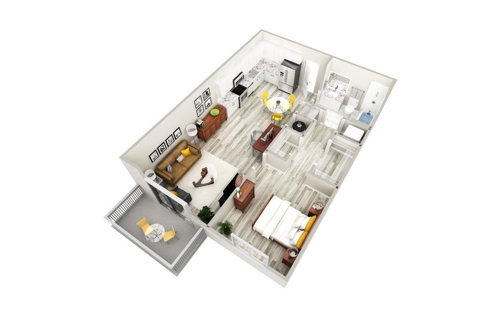 A 1 Bed 1 Bath Floorplan