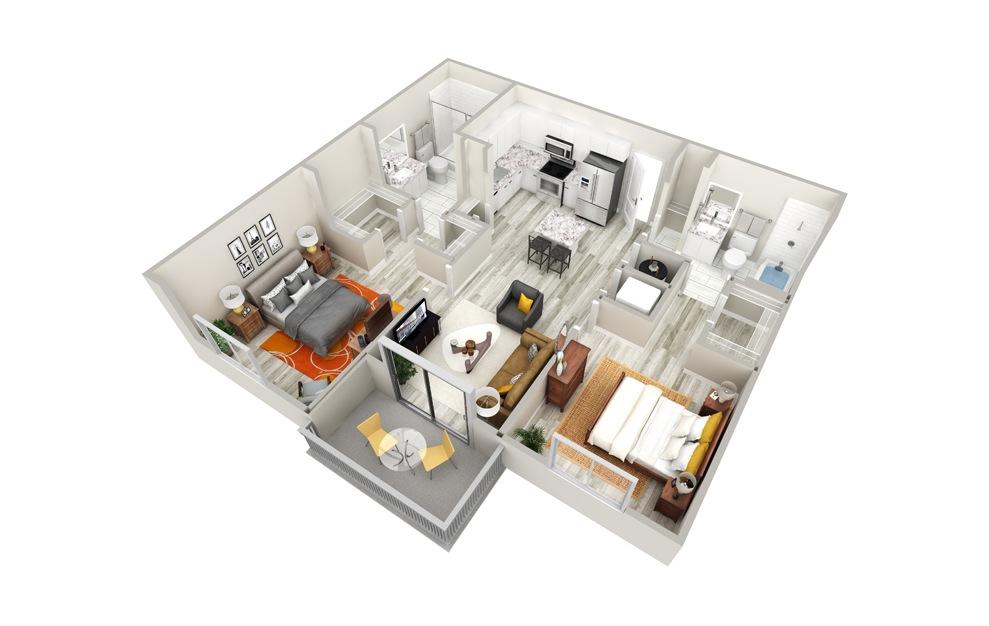 B 2 Bed 2 Bath Floorplan