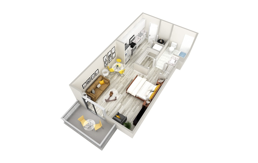 S Studio 1 Bath Floorplan